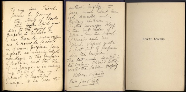 """Dedicație scrisă de Elena Văcărescu pe primele pagini ale romanului """"Royal Lovers"""""""