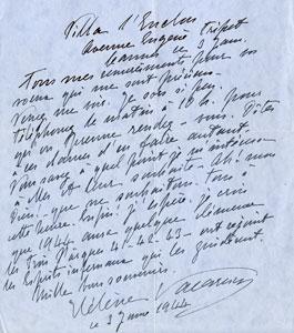 Scrisoare semnată de Elena Văcărescu