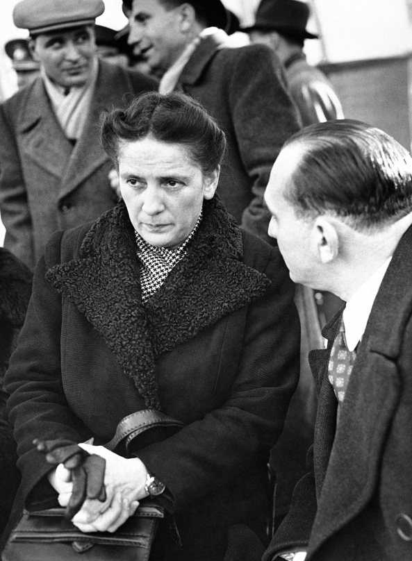 Mrs. Florica Bagdasar, wife of the former minister of the Health of Romania, was re-elected at the Romanian elections and is seen being interviewed in Bucharest, Romania, on Dec. 5, 1946, after the result had been declared. She will now occupy her husband's post as Minister of Health and will be the first female minister of Romania. (AP Photo/Jim Pringle)